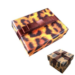 Lovers Ring Box Leopard Printing Pendant Box  Fashion Necklace Package  Special Jewelry Case Trend Earring Boxes with Ribbon 2 designs