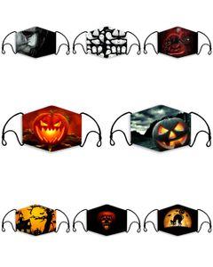 Halloween Pumpkin impressão Máscara Nose Clip Tecido Adulto face da tampa reutilizável Santo escuras Scary Kids Máscaras ajustável