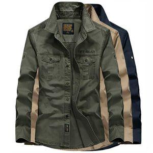 Spring Autumn Breathable Hiking Shirt Men Long Sleeve 100% Cotton Shirt Plus Size 6XL Trekking Fishing Outdoor Shirts
