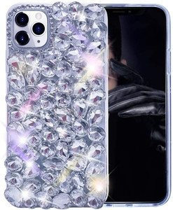 for iPhone 11 Case 3D Glitter Bling Case Shiny Crystal Rhinestone Diamond Clear Case for Iphone 11 Pro Max Xr X 8 7 6 Samsung S10 Note 10