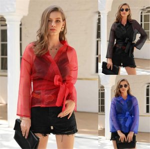 Solid Long Sleeve Lace Up See Through Blouse New Women Designer Cothing Women V Neck Mesh Blouse Fashion