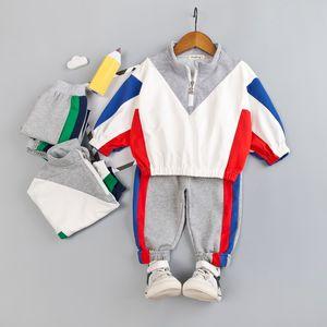 Kids Clothes Boys 2-Piece V Sweatshirt + Cotton Pants with Side Stripe Set Children Toddler Boy Spring Autumn Clothing Set
