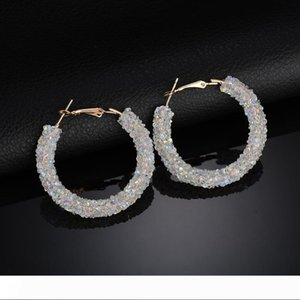 New Design Fashion Charm hoop earrings Geometric Round Shiny rhinestone big earring jewelry women