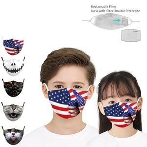 Print mask detachable filter Animal mask + 2pcs filter cycling masks animal skeleton magic scarf Halloween Party Masks