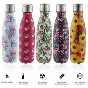 500ml Insulated Water Bottle Printing Pattern Stainless Steel Double Walled Travel Water Bottle Portable Leakproof Thermo Bottle T200102