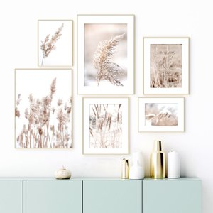Dried Flower Plant Beige Reed Wheat Nordic Posters And Prints Wall Art Canvas Painting Wall Pictures For Living Room Home Decor