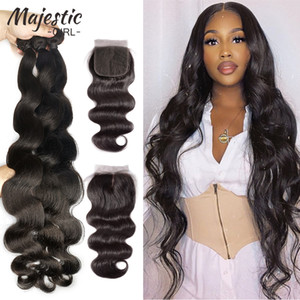 Brazilian Hair Weave Bundles 34 36 38 40 Inch Body Wave 100% Human Hair Bundles With Closure Natural Color Remy Hair Extension