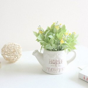 HOME 행운의 꽃과 잔디 시뮬레이션 양각 물 병 분재 세라믹 가짜 꽃 공예 시뮬레이션 꽃 세트 QI4y 번호