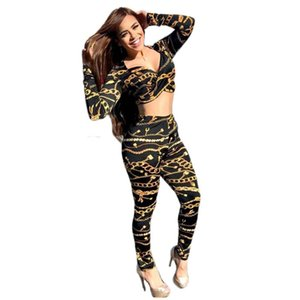 Gold Chain Print Women Two Piece Set 2020 Autumn Long Sleeve Crop Top and Pants Set Bodycon Club Party 2 Piece Outfits Women