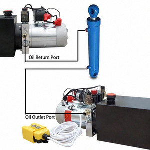4L doppeltwirkend Hydraulikpumpe 12V für Dump Trailer Autohebe 3200 PSI Max Reservoir cyA8 #