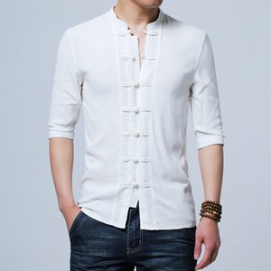 Tradictional Chinese Clothing For Men Half Sleeve Cotton Linen Chinese Style Shirts Tai Chi Tang Suit Style Tops