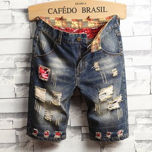 Yeni Yaz Erkek Delikler Kot Şort Moda Erkekler Denim Jeans İnce Düz Pantolon Trend Erkek Stilist Pantolon EN37