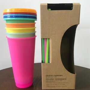 EPACK Color Changing Cold Drink Cups: 24oz Blank Cold Cups - 5 Reusable Cups, Lids and Straws - Summer Coffee Tumblers - Summer Cups, Set of