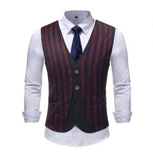 Mens Classic Vertical Striped Suit Vest 2018 Autumn New Sleeveless Waistcoat Men Colete Masculino Wedding Business Dress Vests