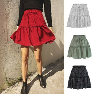 Sexy Women Fashion High Waist Frills Skirt for Women Chiffon Half-length Skirt Printed Beach A Short Mini Skirts New 2020
