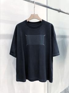Atacado Logo alta qualidade Oversize Maisons Impressão T-shirt T-shirt CUIDADO Logo número de impressão Voltar ponto Verão Casual Tops MM6 T
