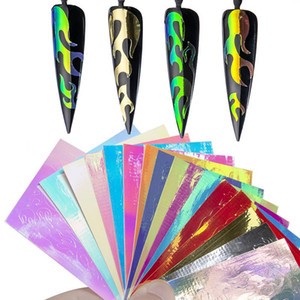 16 Sheets Set Aurora Flame Nail Sticker Holographic Colorful Fire Reflections Nail Decal Self-Adhesive Foils DIY Nail Art Decoration Sticker