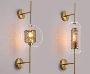 American style creative personality living room aisle glass wall lamp retro industrial wind bedside decoration grid Hotel double head wall l