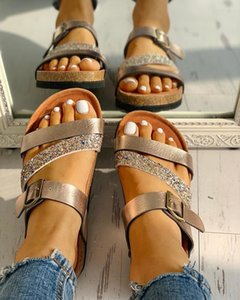 New Women Summer Non-slip Platform 3cm Flat Slippers Flip Flops Female Romanesque Shoes Lady Beach Women Buckle Strap Sandals Y200624