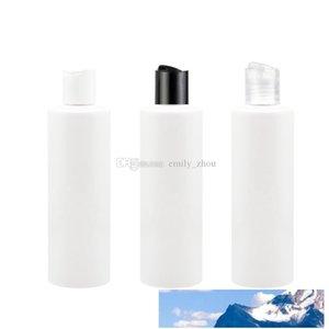 40PCS / الكثير 250ml الاتحاد غطاء القرص الأبيض مع زجاجة محلول بيضاء فارغة السفر زجاجات العطور ديسكو سقف شامبو PET إعادة الملء زجاجة
