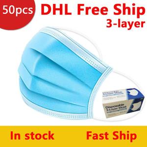 Masque avec la boîte bleue 3 couche d'oreille boucle Masques poussière bouche 3-Ply non tissés à usage unique poussière Masque Masques Designer UPS 4-7days arrivent