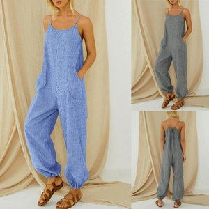 Fashion New Jumpsuit Women Casual Boho Stripe Print Pocket Romper Long Playsuit Strap Jumpsuit Combishort Femme Ete ???? @47