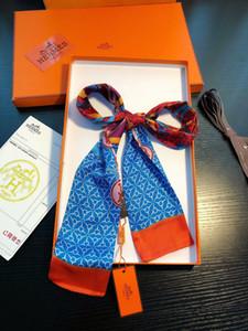 Женщины Hermès Мода лента шелкового шарф Красивые шейного диапазон волосы сумка ручка Обертывание Малых шарфы 120-8cm