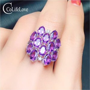 CoLife Jewelry 925 silver amethyst ring for party 12 pieces natural VVS amethyst silver ring sterling silver amethyst jewelry