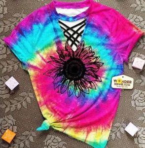 중공 아웃 여성 T 셔츠 2020 넥타이 염료 섹시한 여성 의류 짧은 소매 티셔츠 꽃 최고 티 고삐 V - 목 t- 셔츠 인쇄 탑