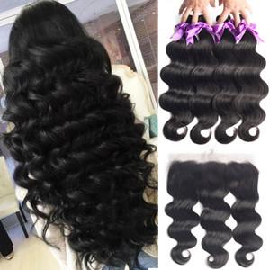 Brazilian Human Hair Weaves Body Wave Bundles With Frontal Human Hair 3 Bundles With 13x4 Lace Frontal Brazilian Hair