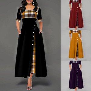 Tasarımcı Sonbahar Elbise Ladys Moda Ekose Uzun Elbise Womens 2020 Yeni Yarım Kol Uzun Dressss Kadınlar Casual Etekler Artı Ölçü kadın