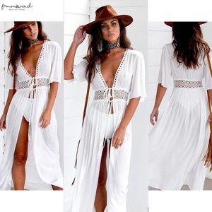 Women Summer Solid White Hole Split Fairy Holiday Maxi Dress Beach Bikini Cap Sleeve Cover Up Long Dress Summer Boho Swimwear Dress