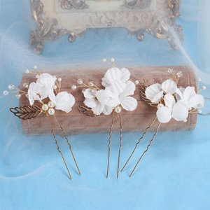 3pc lot Bridal Party Prom Bridesmaid Fairy Elegant Hair Clip Accessories Women Hairpin White Flower Leaves bride Wedding Jewelry