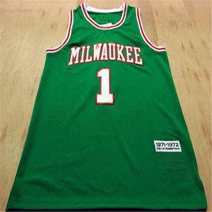 Heißer Verkauf1 Oscar Robertson 1971-1972 Grüne Basketballmänner Nähte Mesh Jersey Größe S-3XL Kostenloser Versand