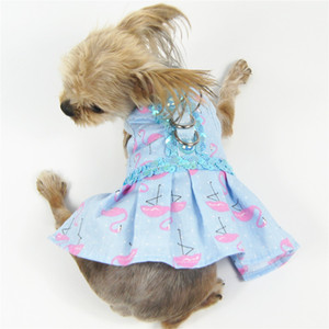 Flamingo Print Dog Dresses Four Seasons Universal Cat Pet Clothes Outdoor Sports Dreee Up Dog Clothes Free Shipping