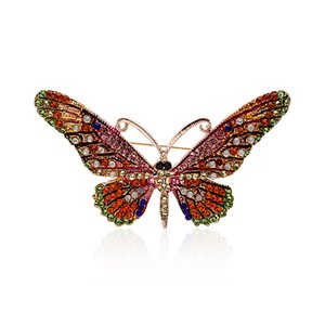 Retro colorful rhinestone dripping oil enamel butterfly brooch for women insect animal brooch pins brooches factory direct sales