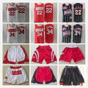 HerrenHoustonRaketenThrowback Jersey Hakeem 34 Olajuwon Clyde 22 Drexler Basketballshorts Basketball-Trikots rot weiß