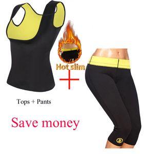 Vender Hot Neoprene Body Shaping Sports da aptidão cintura Butt Lift barriga no peito Puxe Corset Pants Vest Top Clothes Set Y200710