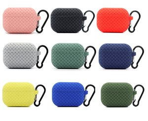 Silicone Protective Case Cover For Airpods pro Weave pattern Bluetooth Earphone With hook For Aiprods 1 2