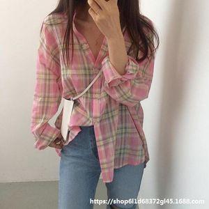 Wu4xP East Gate women's light long sleeve sunscreen shirt Hot Korean East Gate women's light plaid Plaid long sleeve Hot clothes Korean clo