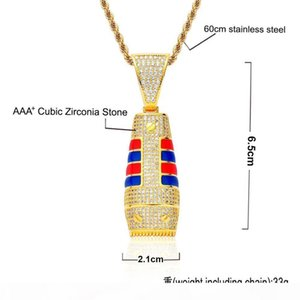 F Men &#039 ;S Razor Pendant &Necklace Hip Hop Jewelry Men &#039 ;S Colorful Cubic Zircon With Rope Chain For Fashion