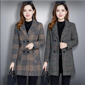 Frauen mittleren Alters Mantel Herbst-Winter-Jacke New Fashion Plaid Wollmantel plus Größe XL-5XL Mid-Long Oberbekleidung Damen Grund
