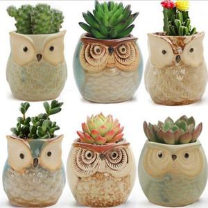 Hibou des pots de fleurs en forme de pots de fleurs Mini Pouce animaux Pots de fleurs jardin Décoration Jardinage Outil Cartoon charnue usine Flowerpot ALSK301
