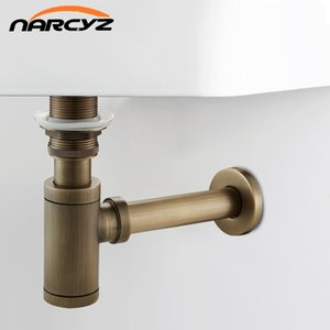 New Bottle Trap Brass Round Siphon Antique color  Black Drain Kit Bathroom Vanity Basin Pipe Waste With Pop Up Drain XSQ1-8 T200715