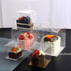 50PCS Small 4-inch Cake Box 4-inch Transparent Hand-held Point Box Cut into Square Musk Baking Containing Cushion Base