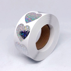 500pcs roll 1 inch Heart Hologram Package Labels Stickers Wedding Favour Gift Packing Adhesive Stickers with High Quality