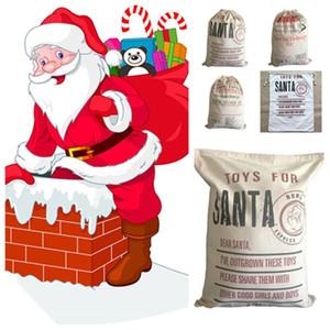 2020 Christmas Gift Bags Large Organic Heavy Canvas Bag Santa Sack Drawstring Bag With Santa Claus Sack Bags for kids T2I51223