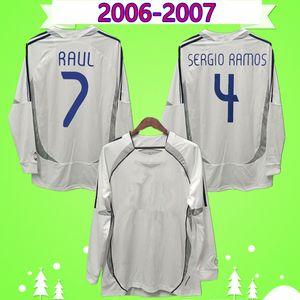 long sleeve Retro 06 07 Real Soccer Jerseys Madrid Vintage 2006 2007 Football Shirts full sleeve Higuain Camiseta Raul Ronaldo Beckham