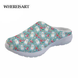 WHEREISART Dog Flowers Women Slippers Indoor Home Floor Cartoon Slippers Summer Beach Mesh Shoes Ladies Sandals For Bedroom