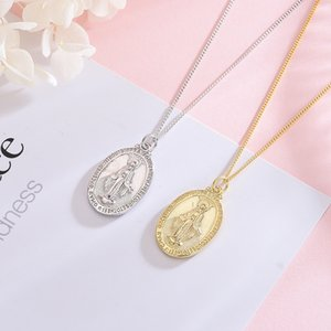 European and American Style Religious Silver Jewelry Accessories 925 Sterling Silver Vintage Golden Virgin Mary Tag Sweater Necklace